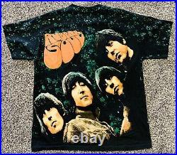 Vintage Beatles Rubber Soul All Over Print Tour Band Shirt Mens L 80s 90s RARE