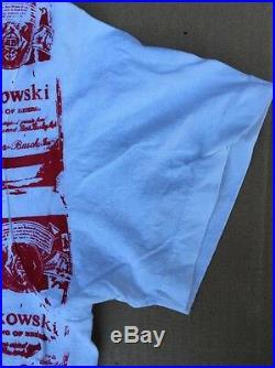 Vintage Charles Bukowski White USA Hanes Budweiser Beer All Over T-Shirt LARGE