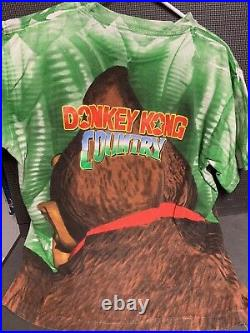 Vintage DONKEY KONG COUNTRY Official Promo Tee ALL OVER PRINT Super Nintendo