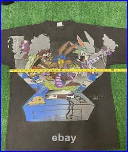Vintage Looney Tunes Shirt All Over Print Sz L Night Thing 1995 Taz Bugs Wile