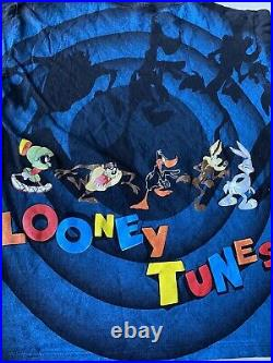 Vintage Looney Tunes Single Stitch Space Jam Shadow Shirt All Over Print Large
