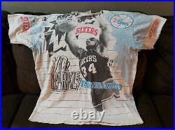 Vintage Magic Johnson T's NBA Charles Barkley 76ers All Over Print T-Shirt XL