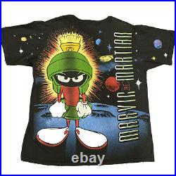 Vintage Marvin The Martian All Over Print T-shirt Sz XL Looney Tunes Space Jam