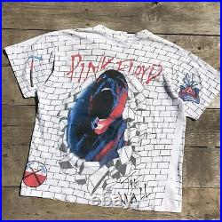 Vintage Pink Floyd The Wall All over print T-shirt Winterland 90s USA Scream