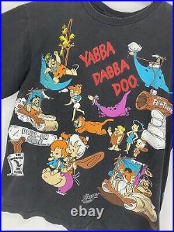 Vintage The Flintstones All Over Print 1994 Rare T Shirt Black Changes Tag