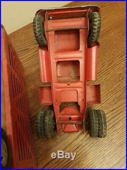 Vintage Tonka 1950s Livestock Semi Truck And Trailer All Original Pressed Steel
