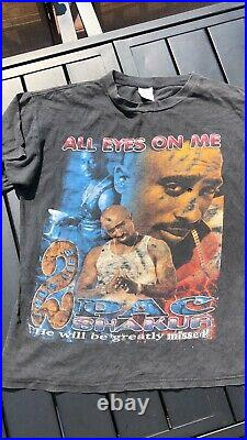 Vintage Tupac Rap Tee All Eyez On Me Me Against The World 2pac Sz Xl