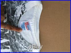 Vtg THE BEATLES Hanes USA T-Shirt all-over print field/apple george harrison XL