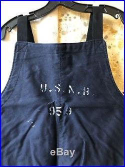 WW2 U. S. Navy Blue Bib Deck Over-Alls Large Hook Type Stencil Front USNB 959