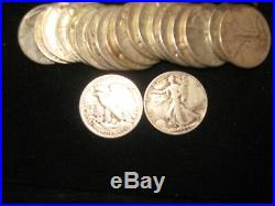 Walking Liberty Half 20 Pc Roll All Vf. All 3 Mints Represented. 90% Silver