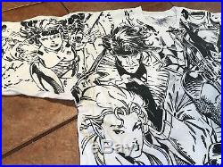 XMEN GAMBIT 1993 Shirt Vtg XL marvel all over print storm cable wolverine rouge